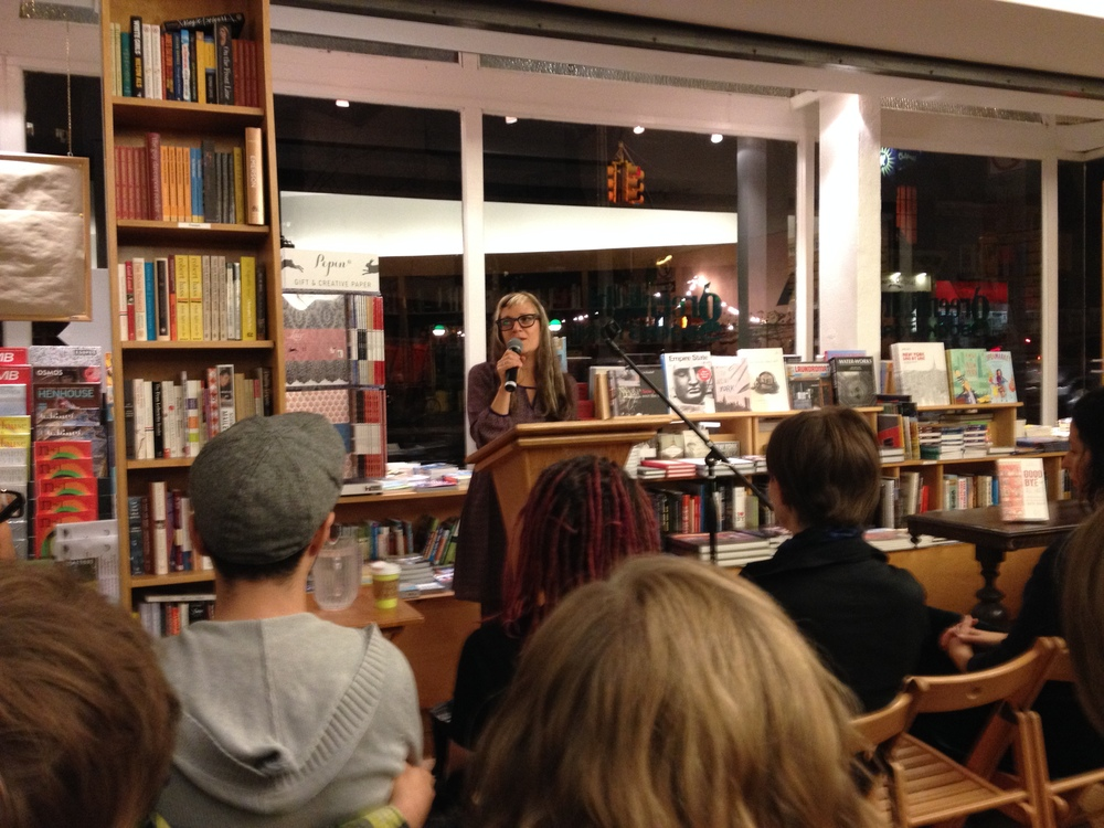 Sari Botton introducing readers to her anthology Goodbye to All That: Writers on Loving and Leaving New York at Greenlight Bookstore in Brooklyn (Credit: Photo by author)