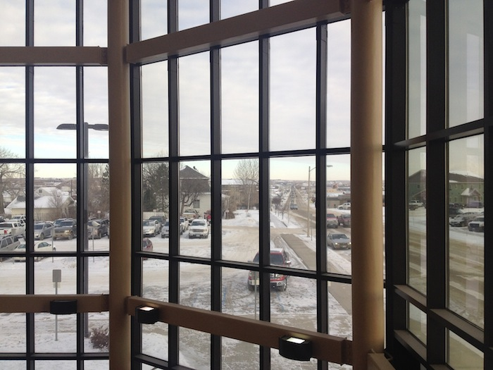 A view from inside Williston P.D. headquarters