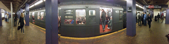 A panoramic view of the Nostalgia Train at 2nd Avenue on the F Line (Credit: Photo by Cameron Faulkner)