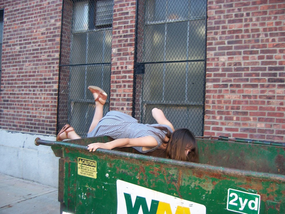 The author dumpster diving