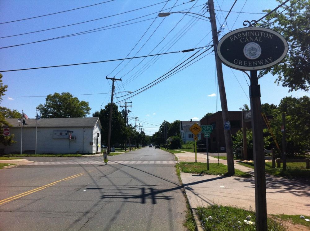 An entryway to the Farmington Canal Trail near the Hamden-New Haven border
