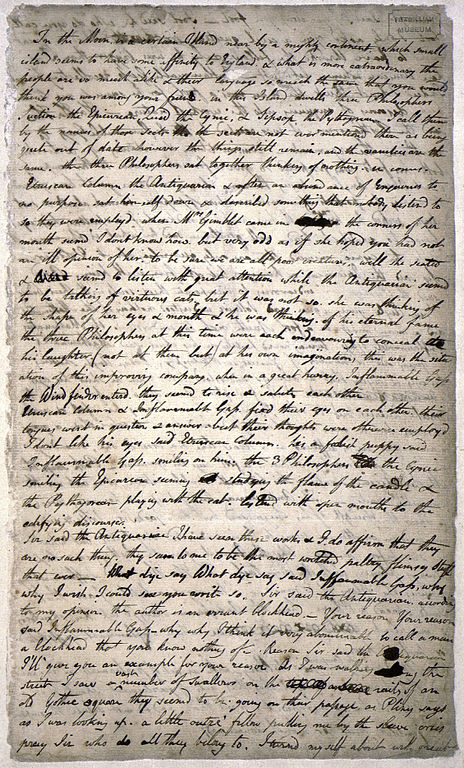 Page one of the only known manuscript of An Island in the Moon
