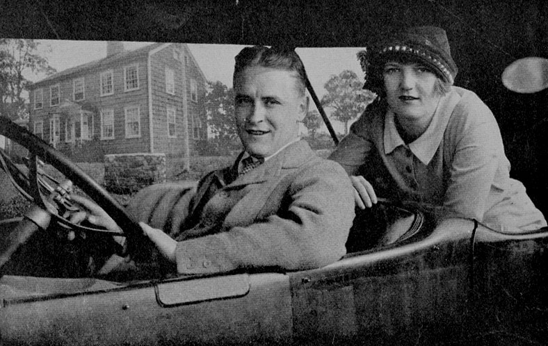 F. Scott Fitzgerald and his wife Zelda outside of their rented summer house in Connecticut, just months after their wedding