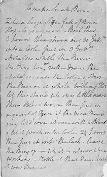 """To Make Small Beer"" from George Washington's 1757 notebook"