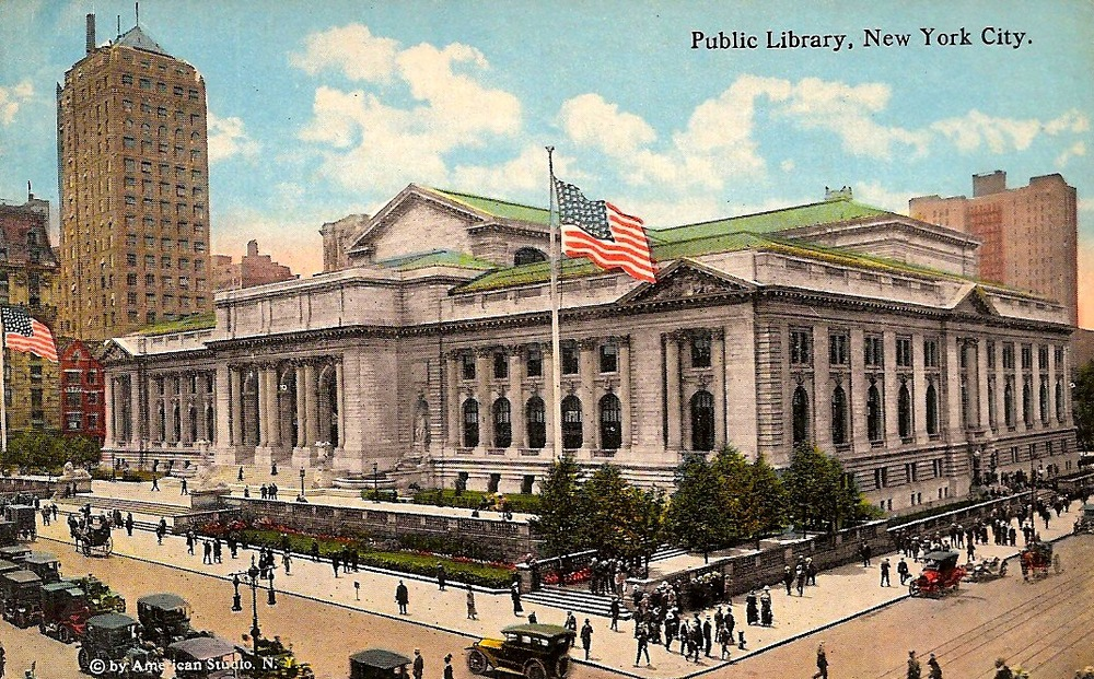 Postcard from 1920 featuring the New York Public Library Building