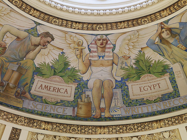 Detail of a mural from the Library of Congress's main reading room