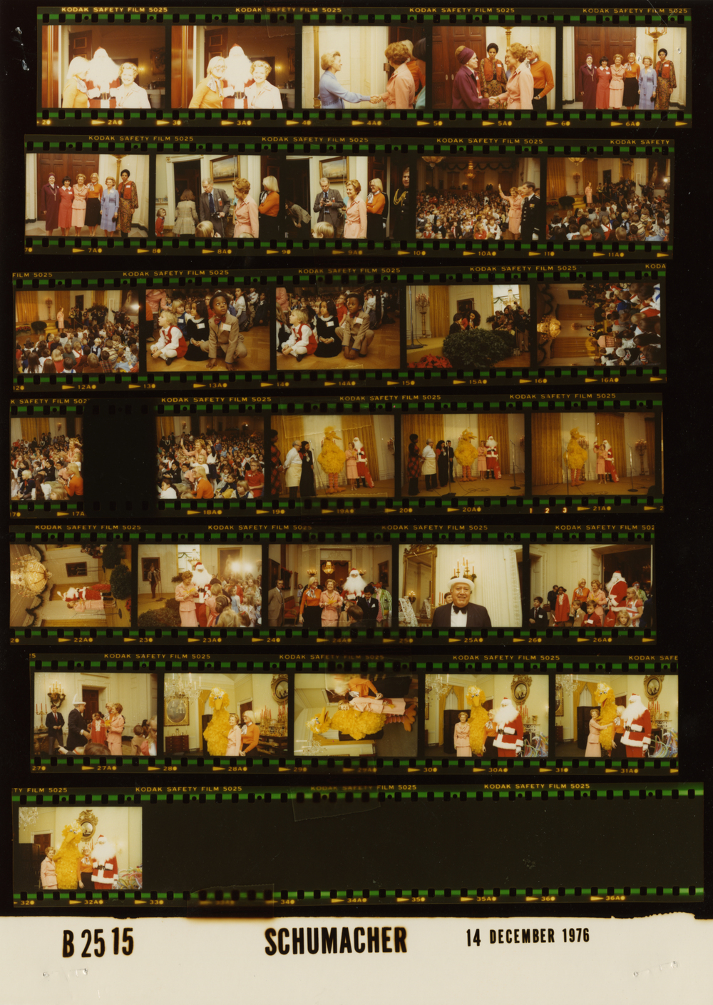 Contact sheet of Big Bird's visit to the White House