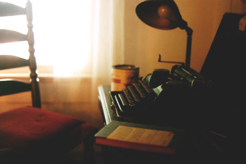 William Faulkner's actual workspace, complete with one of his typewriters
