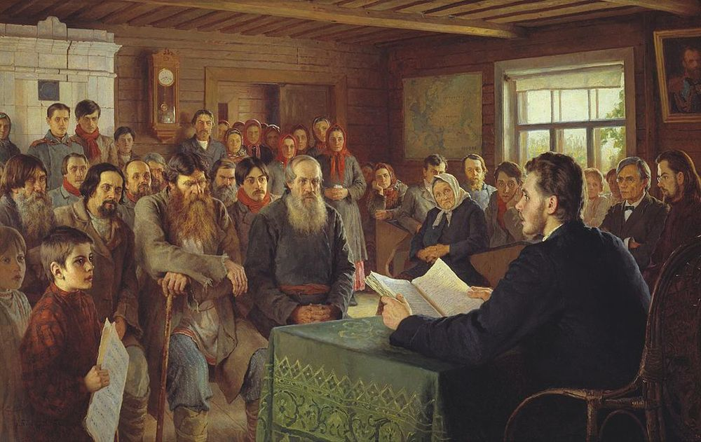 "The Black Balloon office on Fridays (Actually ""Sunday Reading in a Village School"" by Nikolay Bogdanov-Belsky, via Wikipedia)"