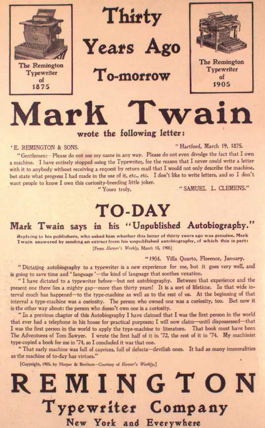 (via  Mark Twain in His Times )