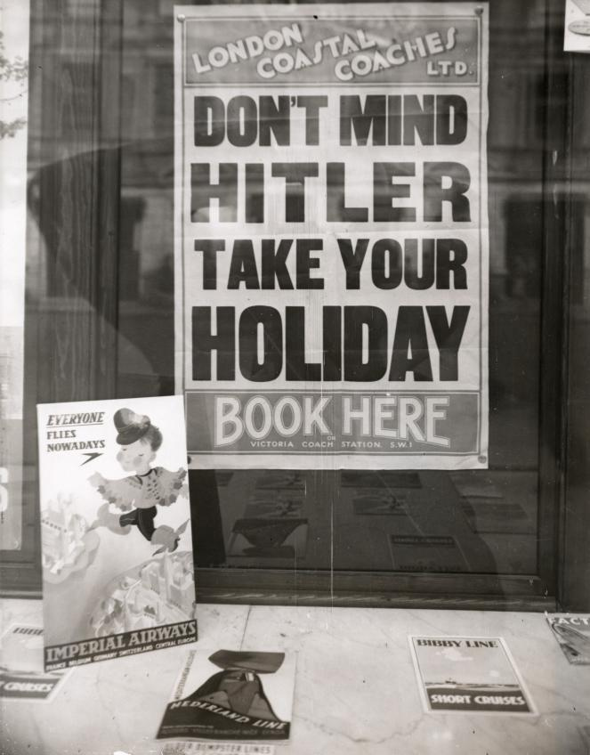 Poster in London travel agency, 1939 (via Flickr)