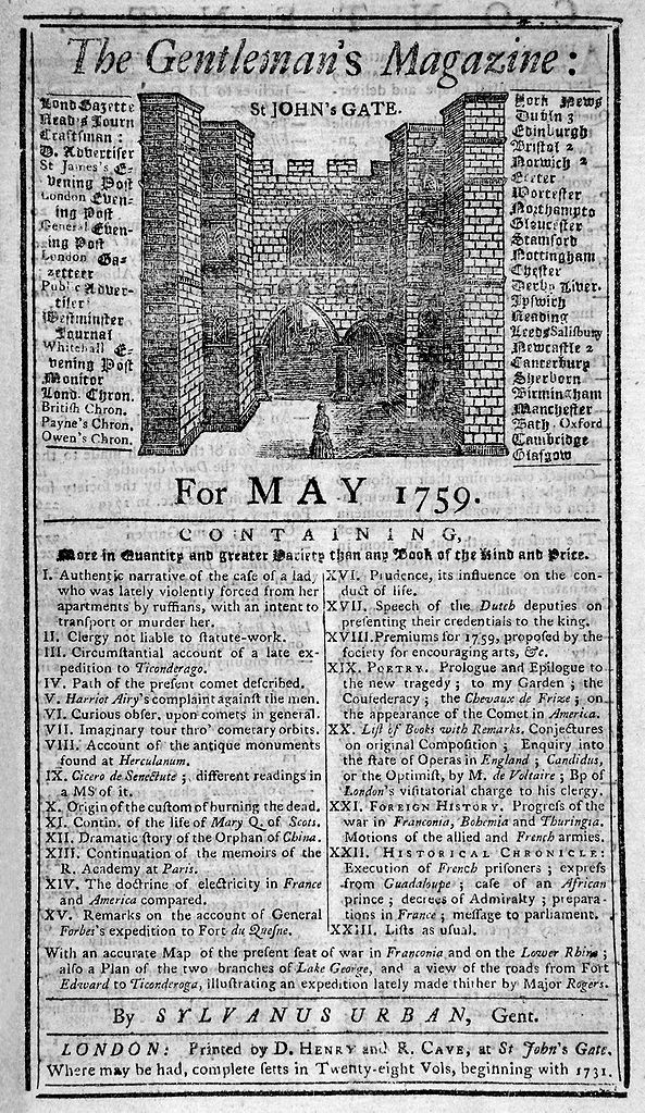 May 1759 edition of  The Gentleman's Magazine  (via  Wikipedia )