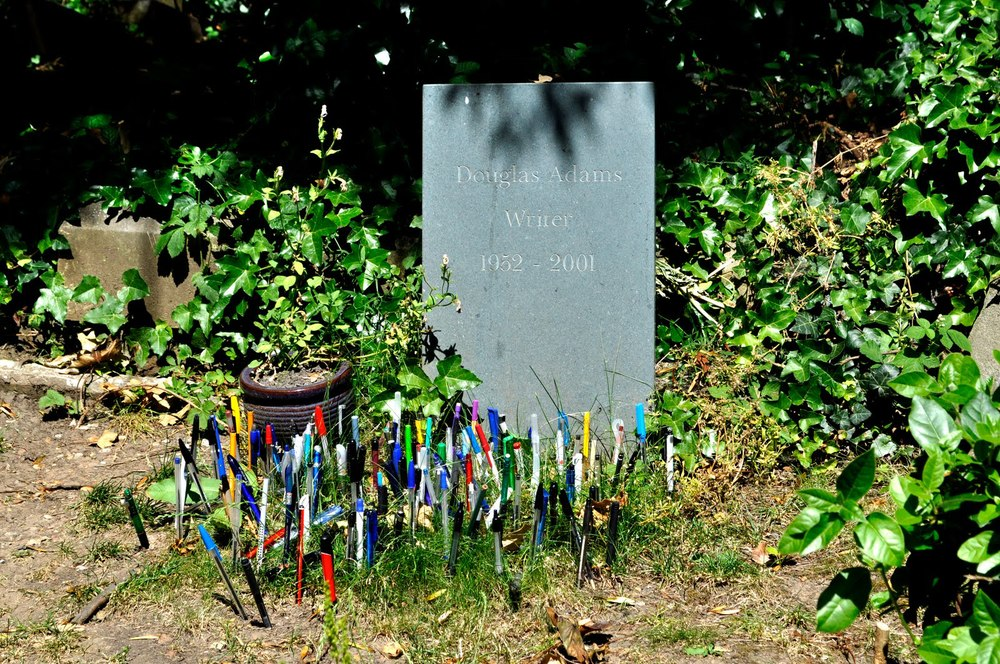 Douglas Adams's grave in London   (via    London Adventure   )