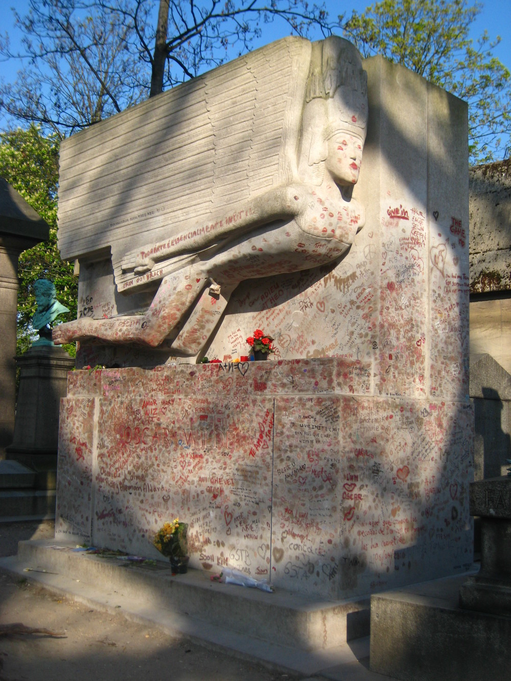 Oscar Wilde's tomb in Paris (via    The History Blog   )