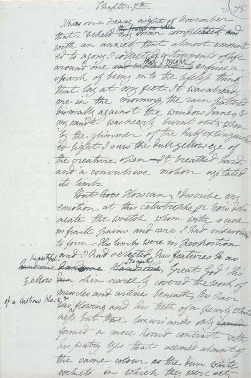 Draft of Frankenstein (via Wikipedia)