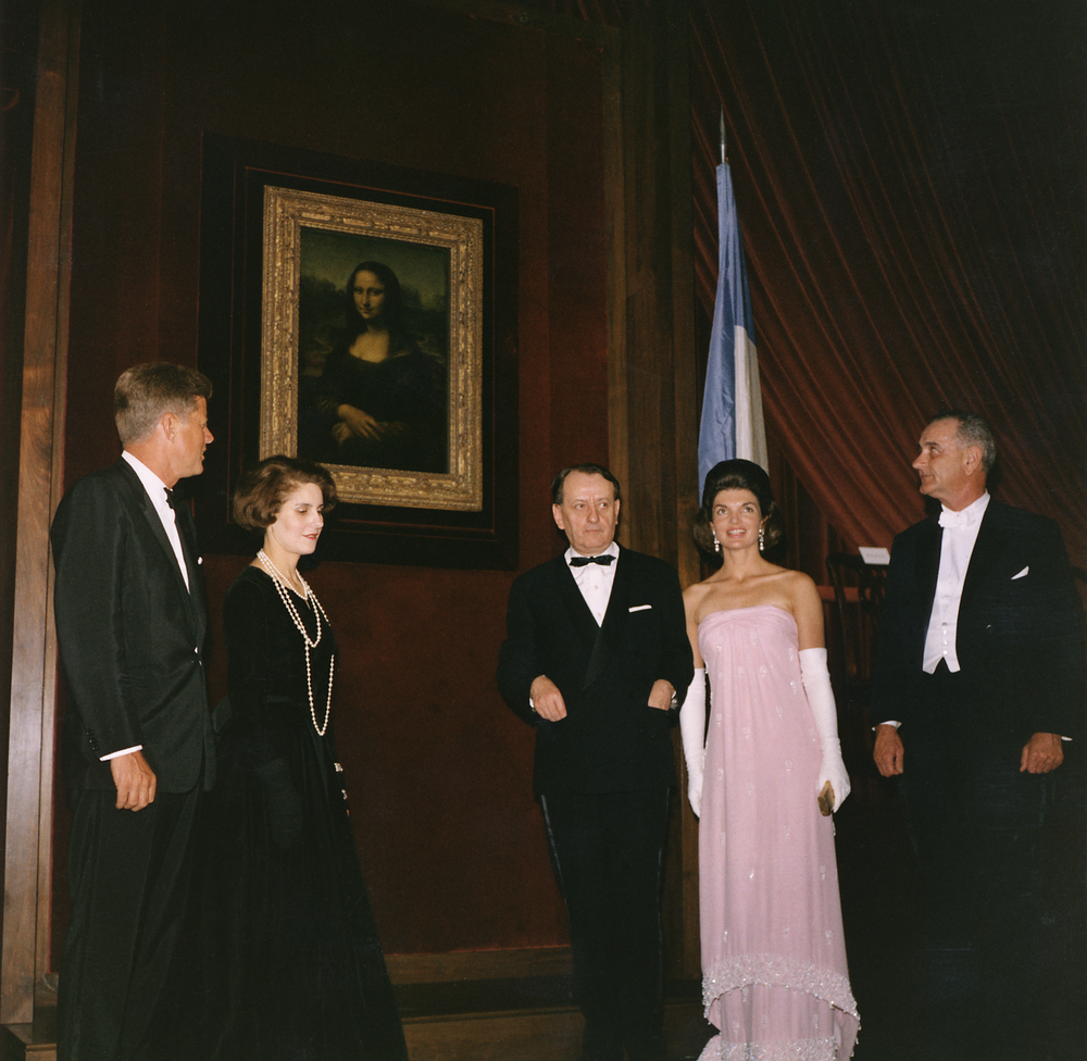 Andre Malraux, center, with John F. Kennedy, Malraux's third wife Madeleine, Jacqueline Kennedy and Lyndon B. Johnson (via Wikipedia)