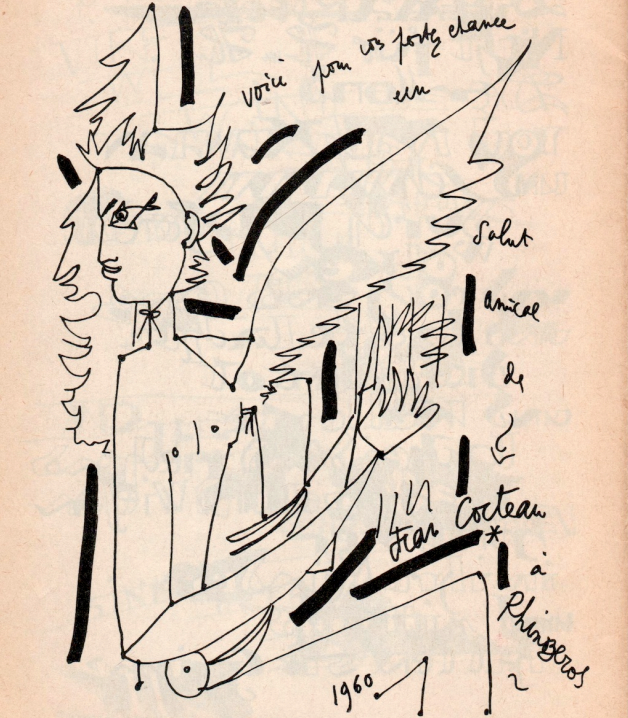 Jean Cocteau's drawing, Rhinozeros Issue 2 (via Reality Studio)
