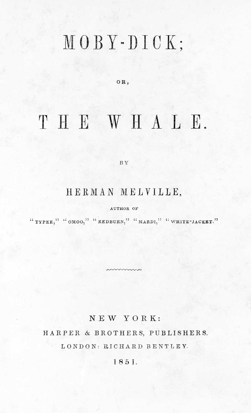 Title page of the first edition of Moby Dick by Herman Melville, 1851 (via Wikipedia)