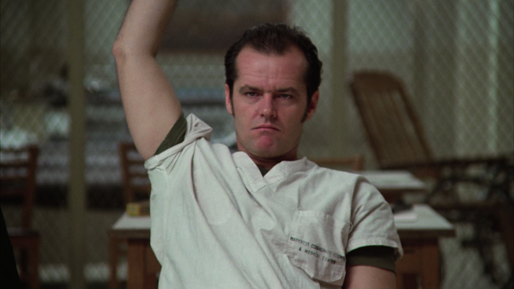 Jack Nicholson as Randle Patrick McMurphy in the film adaptation of One Flew Over the Cuckoo's Nest by Ken Kesey (via Fogs' Movie Reviews)