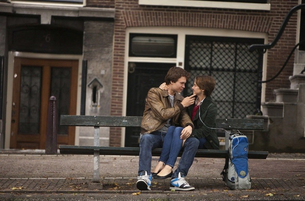 Mr. Augustus Waters and Ms. Hazel Grace Lancaster in the moving picture adaptation of Mr. Green's novel (via Fanpop)
