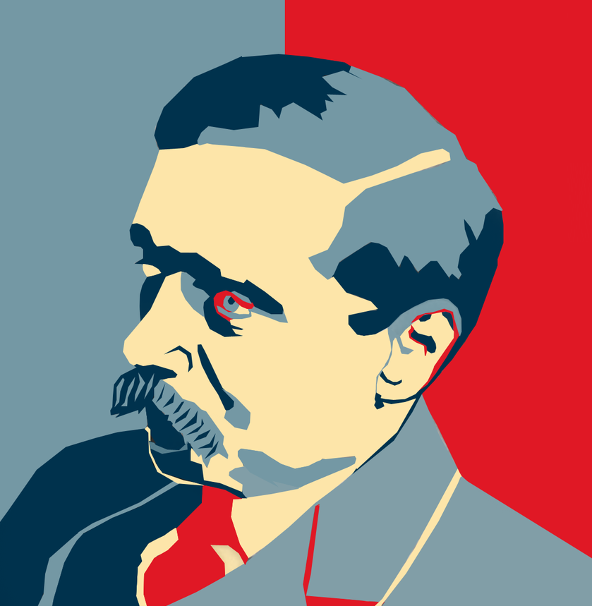 Illustration of H. G. Wells (via Urania)