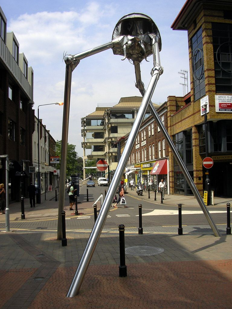 Sculpture by Michael Condron of a Martian tripod from Wells's The War of the Worlds in Woking, England (via Wikimedia Commons)
