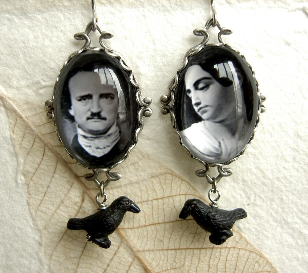 Edgar Allan Poe and Virginia Eliza Clemm earrings (via    Etsy   )