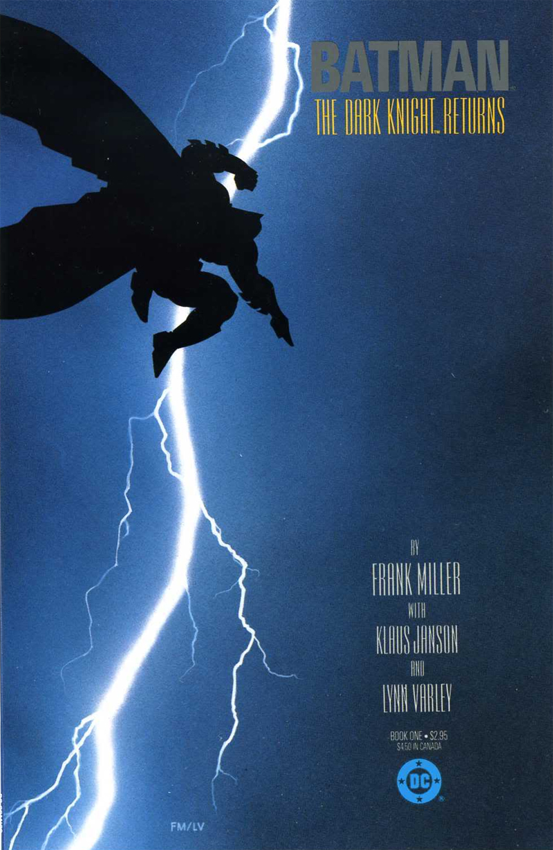 Cover of the first issue of The Dark Knight Returns by Frank Miller with Klaus Janson and Lynn Varley (via Open Letters Monthly)