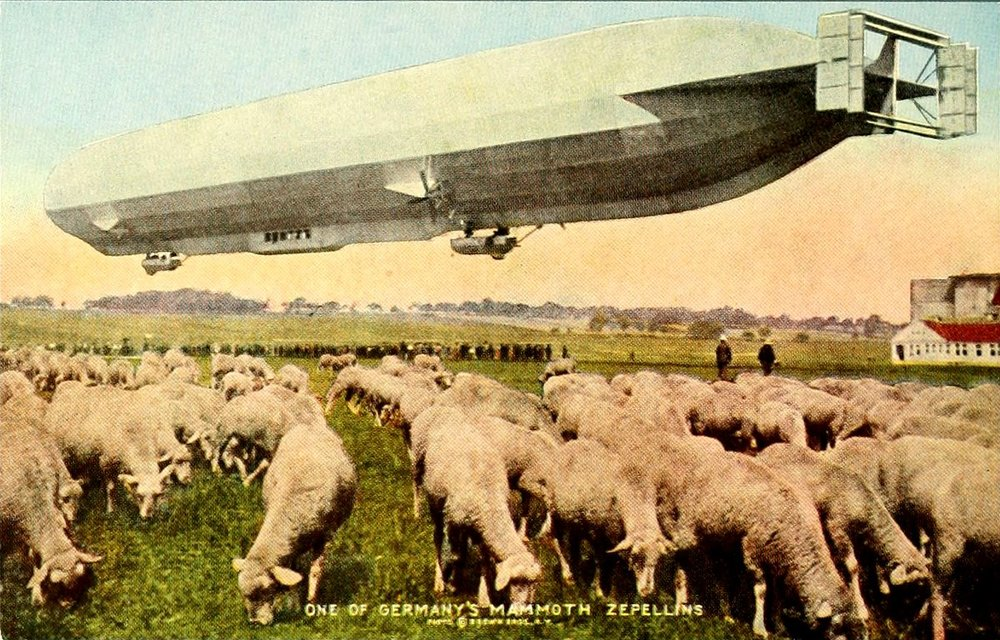 Colorized photograph of a German airship (via Project Gutenberg)