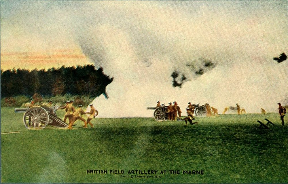 Colorized photograph of British field artillery at the Battle of the Marne, 1914 (via Project Gutenberg)