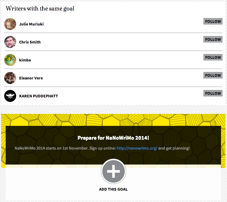 Write-Track goal page for NanoWriMo 2014 (via Write-Track)