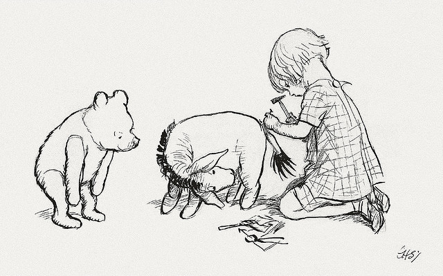 Pooh, Eeyore and Christopher Robin (via Flickr)