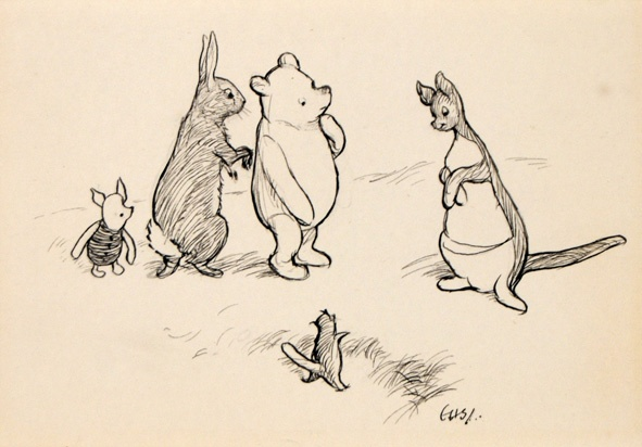 Piglet, Rabbit, Pooh, Roo and Kanga (via Pinterest)