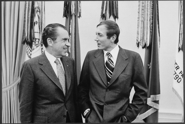 Richard Nixon and Yevgeny Yevtushenko, 1972 (via Wikipedia)