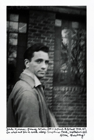Kerouac outside Vazac's Horseshoe Bar by Ginzberg, 1953 (via    EV Grieve   )