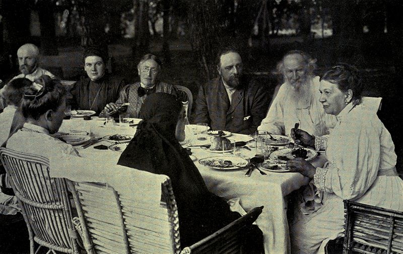 The Tolstoy family circle at Yasnaya Polyana, circa 1905 (via Wikipedia)