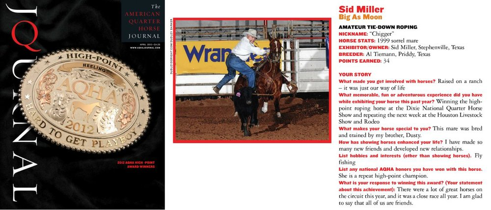 Big As Moon and Sid Miller in the AQHA Journal