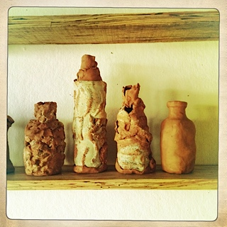 hand built clay bottles