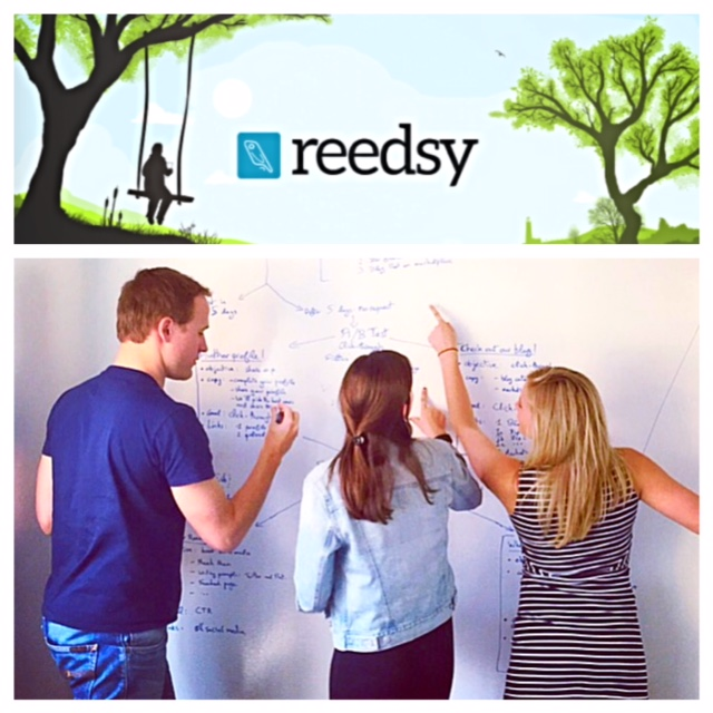 laura brainstorms new marketing ideas with her team at reedsy