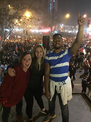 Sage Corps Fellows celebrating after Chile won the Copa America tournament