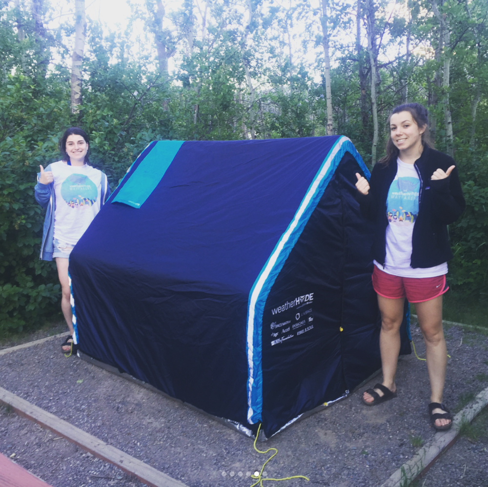 Sarah and Morgan with a WeatherHYDE tent
