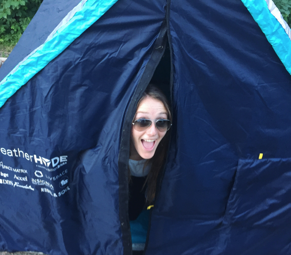 Olivia in a WeatherHYDE tent