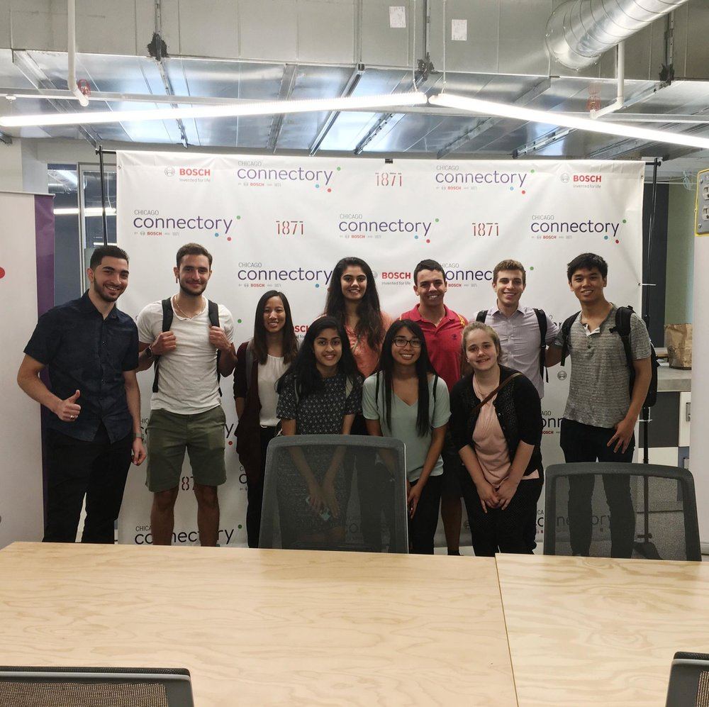 Saif and some of his fellow Chicago cohort at 1871 Chicago, a co-working space hosting major startup incubators and accelerators.