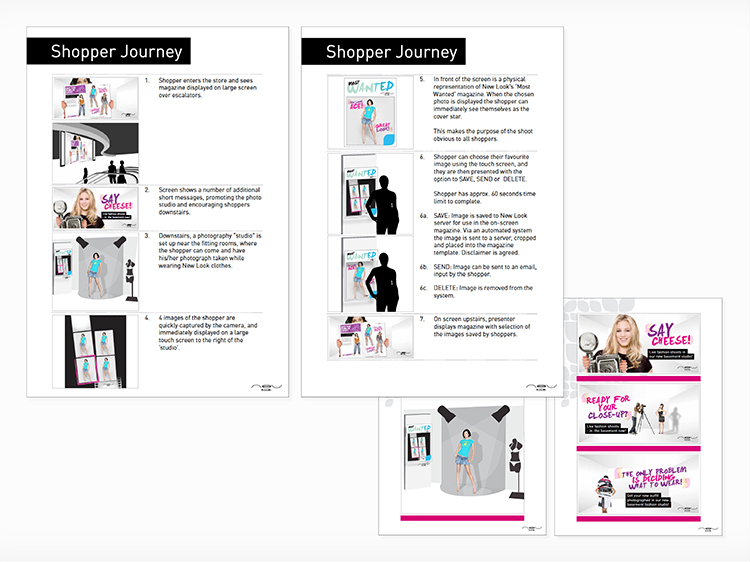 Initial concept boards showing the development of the customer journey and storyboards for the teaser films.