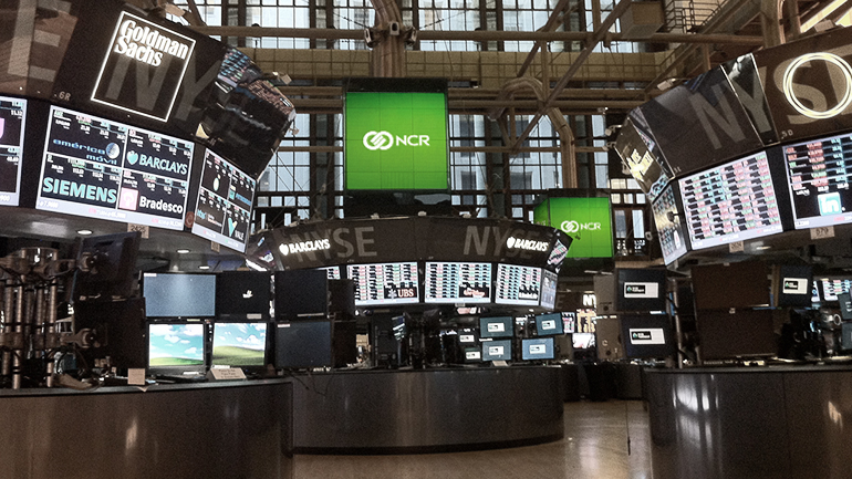 The NCR Brand Block on display at the NYSE in 2014.