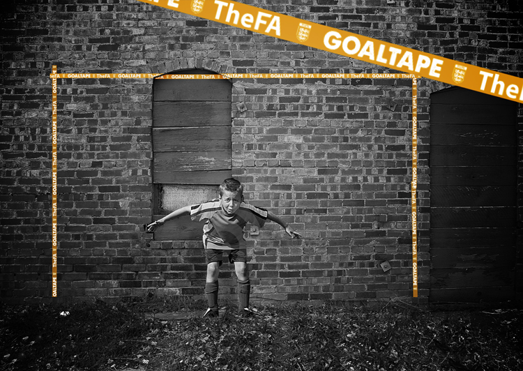 Make a goal anywhere, with GOALTAPE, adhesive tape with pre-measured lengths which allow you to have a kickabout wherever and whenever you like.