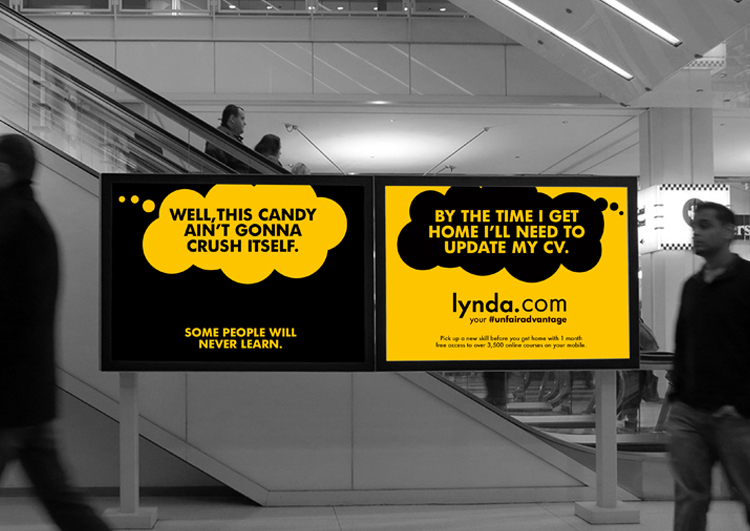 Playing to the idea of superiority, this pair of ads pokes fun at people who spend their time playing games like Candy Crush when they could be using their smartphones to learn new skills using lynda.com.
