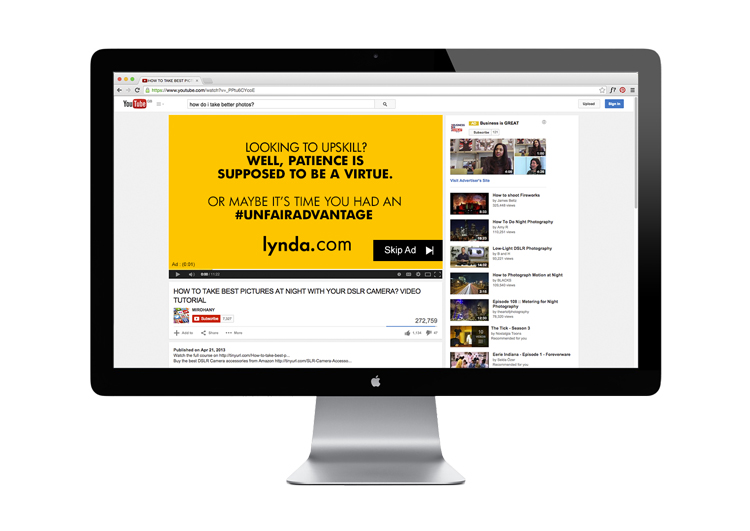 The problem with YouTube 'how-to' videos is that there's no guarantee of quality. This Pre-roll advertisement is targeted at YouTube viewers looking to learn new skills, encouraging them to try lynda.com.