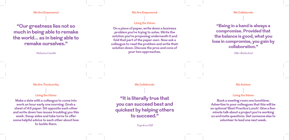 Based loosely on Brian Eno and Peter Schmidt's Oblique Strategies, these RLG Values Cards provide employees with inspirational quotes and simple activities that relate directly to the new brand values. Because the activities are simple, they clearly demonstrate that culture change is about small changes that individuals can make, not just company-wide changes implemented by leadership.