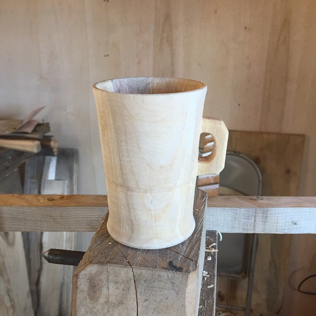 Here is mine. More like a tankard than a lamhog. I've got more work to do until I can see while I'm at the lathe. Handle is really clunky and the shape is not even close.